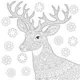 Pagina di coloritura della renna dei cervi di Zentangle illustrazione di stock