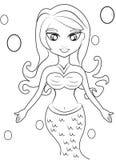 Pagina di coloritura della sirena Immagine Stock