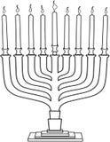 Pagina di coloritura di Hanukkiah della lampada di Chanukah Fotografia Stock Libera da Diritti