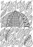 Pagina di coloritura di scarabocchio di tiraggio della mano per l'adulto Amo Autumn Rain Stile dell'ombrello di modo Fotografie Stock