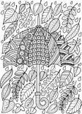 Pagina di coloritura di scarabocchio di tiraggio della mano per l'adulto Amo Autumn Rain Stile dell'ombrello di modo Immagini Stock Libere da Diritti