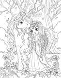 Pagina di coloritura l'unicorno e la principessa illustrazione vettoriale
