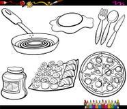 Pagina di coloritura messa oggetti dell'alimento Fotografie Stock