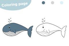 Pagina di coloritura per i bambini Balena del fumetto Disegnato a mano Illustrazione di vettore royalty illustrazione gratis