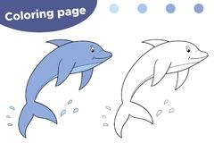 Pagina di coloritura per i bambini Delfino del fumetto Mondo subacqueo illustrazione vettoriale