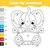 Pagina di coloritura per i bambini Gioco educativo dei bambini Colore dai numeri Automobile dell'azionamento dell'elefante del fu illustrazione vettoriale