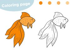 Pagina di coloritura per i bambini Goldfish del fumetto Disegnato a mano Illustrazione di vettore illustrazione di stock