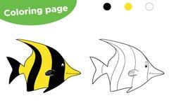 Pagina di coloritura per i bambini Idolo tropicale di moresco del pesce del fumetto Disegnato a mano Illustrazione di vettore royalty illustrazione gratis
