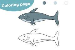 Pagina di coloritura per i bambini Squalo del fumetto Disegnato a mano Illustrazione di vettore royalty illustrazione gratis