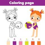 Pagina di coloritura per i bambini Tema di vacanze estive Ragazza con beach ball Illustrazione Vettoriale