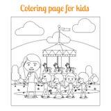 Pagina di coloritura per il parco di divertimenti dei bambini Fotografia Stock