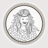 Pagina di coloritura Riflessione nella ragazza dello specchio Immagine Stock