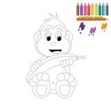Pagina di coloritura Scimmia felice con la banana Immagine Stock