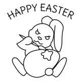 Pagina di coloritura di un coniglietto di pasqua che dipinge un uovo fotografia stock libera da diritti