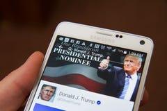 Pagina di Facebook per Donald Trump Fotografia Stock