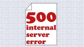 Pagina di Internet animata di errore 500, errore di server interno, pagina del Libro Bianco con il messaggio di errore animato pa video d archivio
