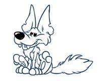 Pagina di seduta di coloritura del fumetto del carattere animale allegro del lupo royalty illustrazione gratis