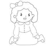 Pagina di seduta di coloritura della bambina Immagine Stock
