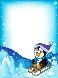 Pagina 1 di tema del pinguino di Sledging illustrazione di stock