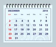 Pagina dicembre 2018 blu sul fondo della mandala illustrazione vettoriale
