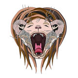 Pagina disegnata a mano del leone Leone dello zentangle di urlo Immagini Stock
