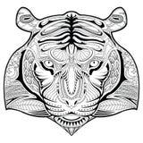 Pagina disegnata a mano di coloritura dell'illustrazione del fronte della tigre Illustrazione Vettoriale