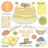 Pagina disegnata a mano sveglia di scarabocchio con i pancake Immagine Stock