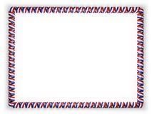 Pagina e confine del nastro con la bandiera del Paraguay, orlanti dalla corda dorata illustrazione 3D Fotografie Stock Libere da Diritti