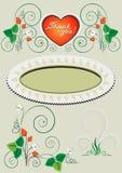 Pagina ed angolo con la decorazione delle fragole e dei fiori Immagine Stock