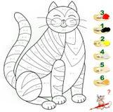 Pagina educativa con gli esercizi per i bambini sull'aggiunta e sulla sottrazione Debba risolvere gli esempi e dipingere l'immagi Immagine Stock