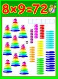 Pagina educativa per i bambini con la tavola di moltiplicazione Fotografia Stock