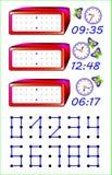 Pagina educativa per i bambini piccoli Debba unire i punti con le linee rette e scrivere il tempo corretto sugli orologi illustrazione di stock