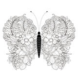 Pagina elegante di coloritura della farfalla illustrazione di stock