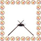 Pagina esterna fatta dei rotoli dei sushi Immagine Stock Libera da Diritti