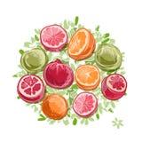 Pagina fatta dai frutti, schizzo per la vostra progettazione Fotografie Stock Libere da Diritti