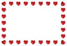 Pagina fatta dei cuori rossi Fotografia Stock