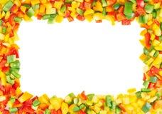 Pagina fatta dei peperoni dolci affettati Immagini Stock