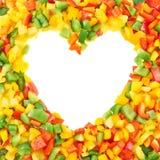 Pagina fatta dei peperoni dolci affettati Fotografia Stock Libera da Diritti