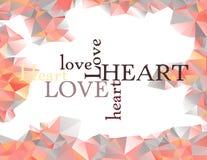 Pagina fatta dei triangoli con amore delle lettere e Immagine Stock Libera da Diritti