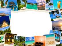 Pagina fatta delle immagini dei maldives della spiaggia di estate Fotografia Stock
