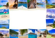 Pagina fatta delle immagini dei maldives della spiaggia di estate Fotografie Stock Libere da Diritti
