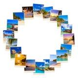Pagina fatta delle immagini dei maldives della spiaggia di estate Fotografie Stock