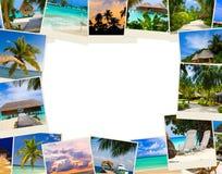 Pagina fatta delle immagini delle Maldive della spiaggia di estate Immagine Stock