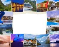 Pagina fatta delle immagini di viaggio della Norvegia le mie foto Fotografie Stock