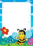 Pagina felice 1 di argomento dell'ape della molla Immagini Stock Libere da Diritti