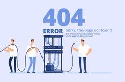 Pagina 404 foutenconcept Droevige, pagina gevonden niet websitemalplaatje met server en netwerkbeheerders Vector royalty-vrije illustratie