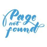 Pagina gevonden niet met de hand geschreven inschrijving Elegant van letters voorzien Geïsoleerdj op witte achtergrond Stock Foto's
