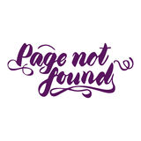 Pagina gevonden niet met de hand geschreven inschrijving Elegant van letters voorzien Geïsoleerdj op witte achtergrond Stock Foto