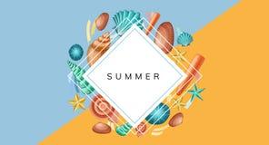 Pagina il modello con le coperture e le stelle marine per l'estate illustrazione vettoriale