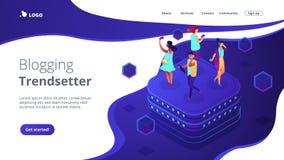 Pagina isometrica di atterraggio 3D di comportamento della rete sociale royalty illustrazione gratis